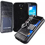 Galaxy S4 Case,[Black] [Back Pocket Case] [5 Card Slot] Finger Holder Clip PU Leather TPU Bumper Clutch Case [Drop Protection] For Samsung Galaxy S4 ACS4BK