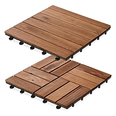 casa pura Interlocking Acacia Wooden, Garden and Patio Decking Tiles (Pack of 11) 12 x 12 inches