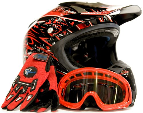 Adult Motocross Helmet Gloves & Goggles ATV Dirt Bike Motorcycle Red, X-Large