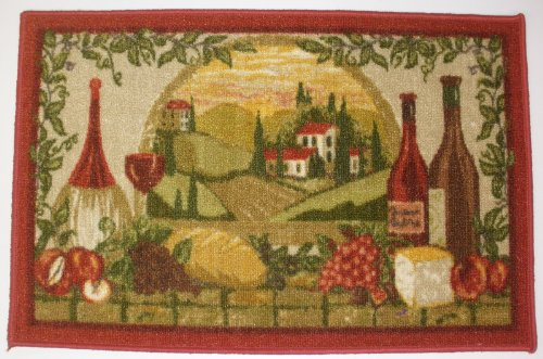 WINE AND GRAPES BURGUNDY 20 inch x 30 inch KITCHEN RUG