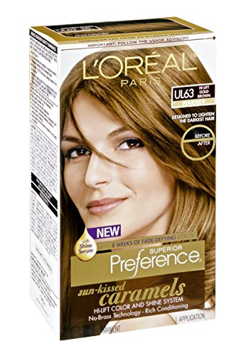 L'Oreal Paris Superior Preference Sun-Kissed Caramels Warmer Ul63 Hi-Lift Gold Brown Permanent Haircolor, 1 Ct (Pack Of 3)