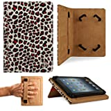 BROWN Leopard Hard Cover Portfolio Jacket Mary Case, Stand Alone, Lightweight, Protective Slimline Sturdy, Flip Folio Book Style Design For Amazon Kindle Fire 7″ LCD Display, Wi-Fi Android Tablet