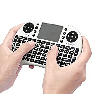 eSynic® KB05 2.4G Mini Wireless Keyboard Touchpad Mouse Combo - Multi-media Portable Handheld - for PC Andriod TV Box Media Mini TV PC Stick HTPC Laptop Xbox 360 PC PS3-British Keyboard White Color