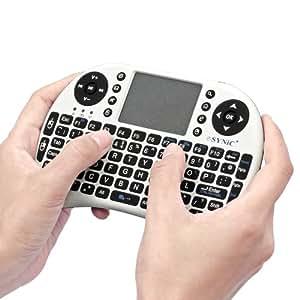 ESYNiC KB05 2.4G Mini Wireless KODI XBMC Keyboard Touchpad Mouse Combo - British Layout-Multi-media Portable Handheld - for PC Google Andriod Smart TV Smart TV Tivo Box Media Mini TV PC Stick HTPC IPTV Laptop Raspberry PI PS3-White Color