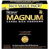 Trojan Magnum Condoms, Lubricated,Large, 36 Condoms (Pack of 2)