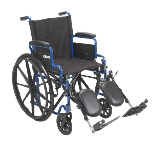 Drive Medical BLS18FBD-ELR Blue Streak Wheelchair with Flip Back Desk Arms and Elevating Leg Rests, Blue Desk Arms