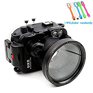 Meikon 40M/30ft Waterproof Underwater Camera Housing Diving case for Canon Powershot G1X II + HuiHuang USB LED free gift
