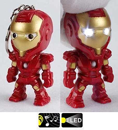 Nido del Bimbo 590 - [IRONMAN] Portachiavi con Luci e Suono tipo Marvel The Avengers Dc Comics Justice League of America Star Wars Film Videogiochi Cattivissimo Me Minions Cartoni Animati Supereroi Fumetti Manga Villians Cattivi Buoni