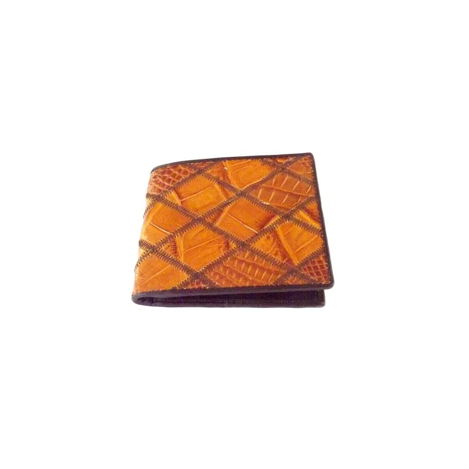 100 % Genuine Crocodile Leather Zag Bifold Mens Wallet from Thailand / Tan