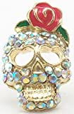 DaisyJewel Rose Skull Ring - Top Seller - My Glam & Girly Zombie Romance - Betsey Johnson Inspired Pink Coral Love Rose Enamel & Crystal Encrusted Gold Sugar Skull Ring with Heart Shaped Eyes - Adjustable for One Size Fits All / One Size Fits Most