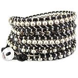 Chan Luu Platinum Pearl Mix Natural Black Leather Wrap Bracelet BS-3319