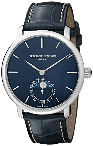 Frederique Constant Men'S Fc705N4S6 Slim Line Analog Display Swiss Automatic Blue Watch