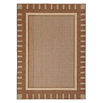 Jardin Collection Brown Contemporary Bordered Design Indoor / Outdoor Jute Backing Area Rug (53