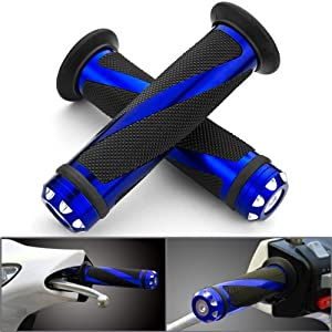 Amazon.com: 2 pic Universal Blue Motorcycle Grips with Billet Aluminum