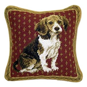 Beagle Dog Needlepoint Wool Throw Pillow 10