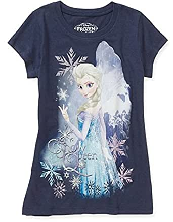 Disney Frozen Elsa Snow Queen Girl Navy T Shirt Tee (S 6/6X)