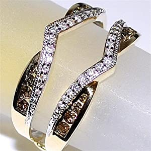 Cognac and White Diamond Jacket Yellow Gold 0.5ct 10K Chocolate Solitaire Enhancer Guard