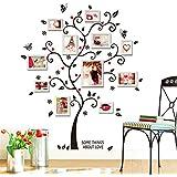 Soledi®Pegatinas Adhesivos vinilos decorativos pared Hojas árbol DIY con marcos de foto Removible para sala de estar dormitorio