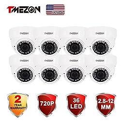 TMEZON 8 Pack HD AHD HD 1.3MP 720P 2.8-12mm Varifocal Zoom 36IR LEDs Surveillance Security Camera