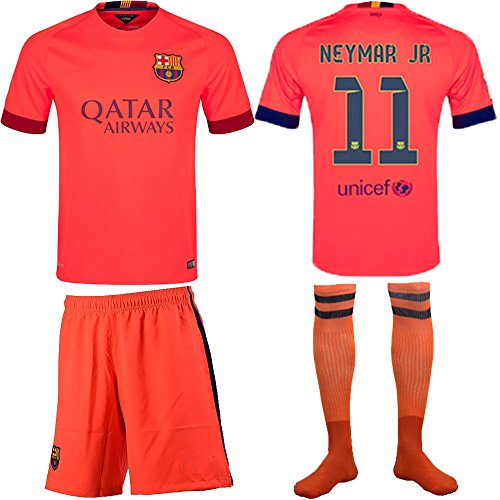 9d78676ee10 Barcelona Kids Jersey 2014/2015 Fc Barcelona Neymar Jr #11 Away Football  Soccer Jersey & Shorts with Socks and Free Key Chain for Kids 3-14 Years ...
