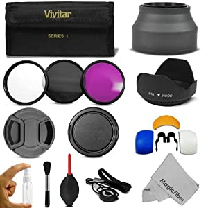 58MM Professional Accessory Kit for CANON EOS Rebel T5i T4i T3i T3 T2i T1i XT XTi XSi SL1 DSLR Cameras - Includes: Vivitar Filter Kit (UV, CPL, FLD) + Carry Pouch + Lens Hoods (Tulip and Collapsible) + Flash Diffuser Set + Lens Caps (Center Pinch and Snap On) + Cap Keeper Leash + Deluxe Cleaning Kit + MagicFiber Microfiber Lens Cleaning Cloth