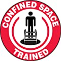"Accuform Signs LHTL114 Adhesive Vinyl Hard Hat/Helmet Safety Message Label, Legend ""CONFINED SPACE TRAINED"" with Graphic, 2-1/4"" Diameter, Red/Black on White (Pack of 10)"