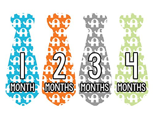 Months in Motion 725 Monthly Baby Stickers Necktie Tie Baby Boy Months 1-12