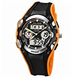 5 ATM Water-proof Digital-analog Boys Girls Sport Digital Watch with Alarm Stopwatch Chronograph (Orange)