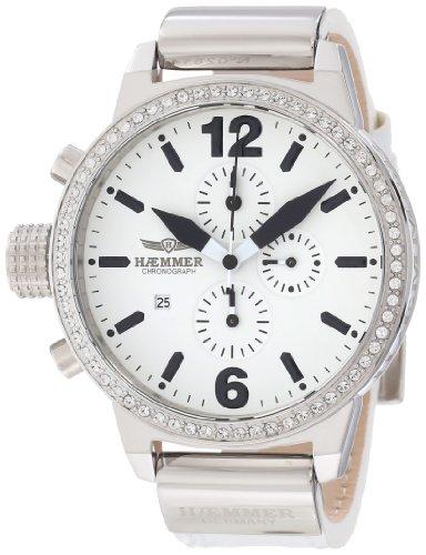 Haemmer Women's DHC-04 Secrets Crystal Bezel White Leather Chronograph Watch