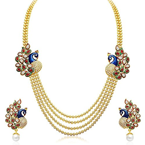 Sitashi Long American Diamond|CZ Multi Color antique Necklace Set/Artificial Jewellery For Women  available at amazon for Rs.339