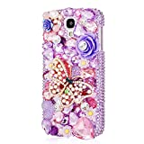 Mavis's Diary 3D Handmade Crystal Butterfly and Flower Purple Rhinestone Diamond Hard Case Cover for Samsung Galaxy S4 Samsung Galaxy S IV I9500 I9505 SPH-L720 SGH-I337 SCH-I545 SGH-M919 SCH-R970 Samsung Galaxy S4 LTE-A with Soft Clean Cloth