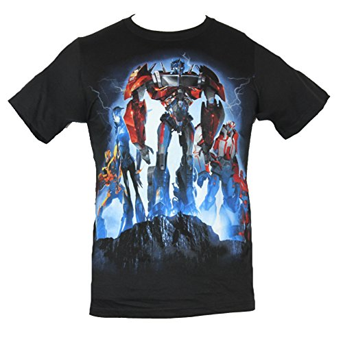 Transformers Mens T-Shirt - Movie Autobots in the Coming Storm on a Cliff Image