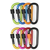 BUTEFO Outdoor Aluminum D-ring Locking Carabiner Keychain Spring Clip Lock Carabiner Hook Outdoor Camping Equipment / Camp Hiking Snap Hook Lock Keychain (8 PCS (All Colors))