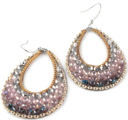 Perla Designs Silvertone Beaded Hoop Earrings, Lavender