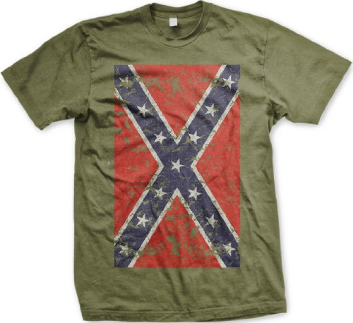 Big Confederate Flag Mens T-shirt, Confederate States Distressed Worn Faded Rebel Flag Men's Tee Shirt, Medium, Olive
