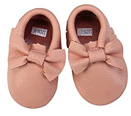 Unique Baby 100% Real Cow Leather Bow Moccasins Anti-Slip Tassels Prewalker Toddler Shoes (S (5.1 Inches), Peach)