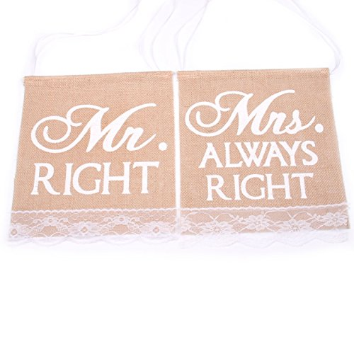 Junxia Mr.RIGHT Hessian Chair Banner Rustic Wedding Banner Burlap Signs