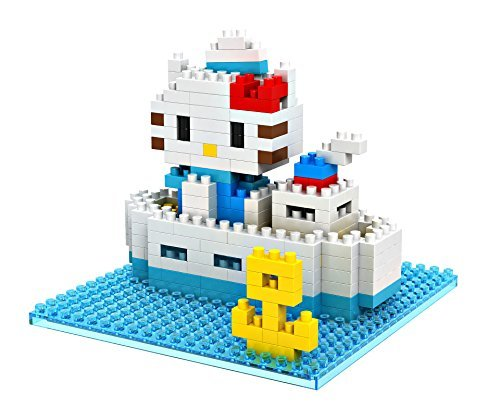 GRHOSE LOZ Diamond Blocks Nanoblock Hello Kitty and Boat Educational Toy 210pcs