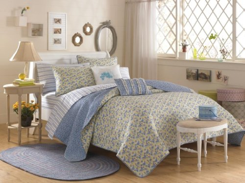 Lowest Prices! Laura Ashley Carlie King Quilt, Blue