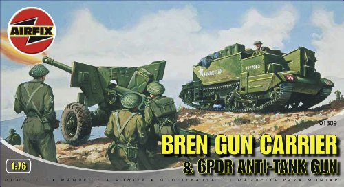 Airfix A01309 1:76 Scale Bren Gun Carrier and 6PDR Anti-Tank Gun Military Vehicles Classic Kit Series 1