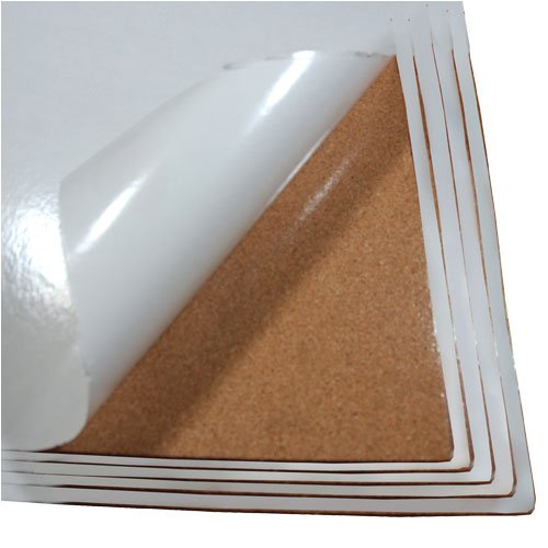 """Cork Sheet 5 Pack With Adhesive 24"""" Wide x 36"""" Long x 1/2"""" Thick"""