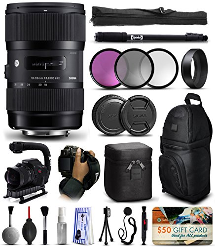 Sigma 18-35mm F1.8 DC HSM Art Lens for Canon (210101) includes 3 Piece Filter Set + Stabilizer Handle + Backpack + 67