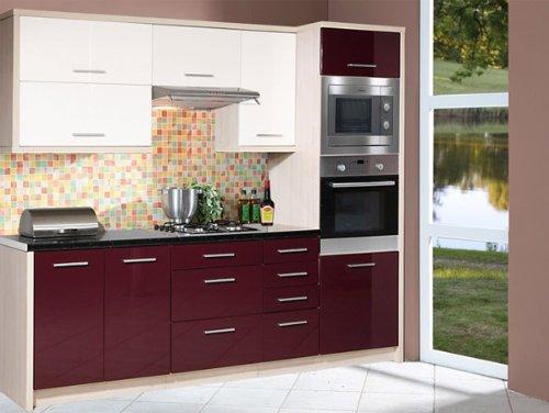 Kuchenzeile 1634 Kuchenblock jersey / violett + weiß Hochglanz 240cm