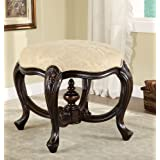 Stool in cappuccino with carved wood frame and floral print upholstery