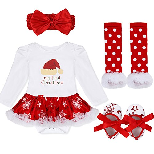 IEFiEL Baby Girls Christmas Picture Skirt Bodysuit Headband Leg Warmer Shoes Set (3-6 Months, Christmas Hat)