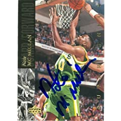 Nate McMillan Autographed Hand Signed Basketball Card (Seattle Sonics) 1994 Upper...