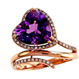 Effy Collection 14k Rose Gold Diamond and Amethyst Ring