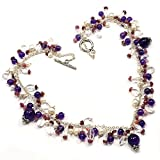 Silvesto India Tourmaline, Amethyst & Pearl 925 Sterling Silver Necklace PG 1316