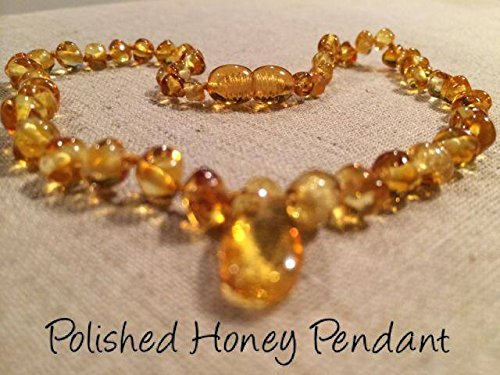 Baltic Amber Teething Necklace For Babies And Toddlers Polished Honey Pendant Certified Authentic. Anti-Inflammatory, Reduction Of Drooling, Red Cheeks, Teething Pain. Highest Quality front-851714