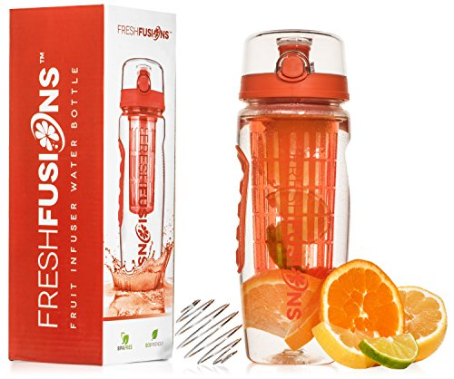 Fresh Fusions Fruit Infuser Bottle Fruit Infused (Tangern) Water Bottle Fruit Infusion Water Bottle 32oz 32 oz Protein Shaker Bottle Mixer Bottle Protein Mixer Bottle Water Infuser Sports Gift